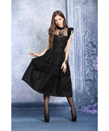 Black Peacock Design Lolita Goth Cocktail Party Dress Mid Length Victori... - $71.53