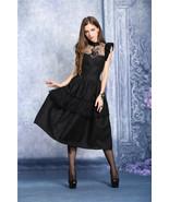 Black Peacock Design Lolita Goth Cocktail Party Dress Mid Length Victori... - $75.68
