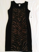 Anne Klein Dress Animal Print Front Mesh Sexy Cling Sundress Stretchy 14... - €30,69 EUR