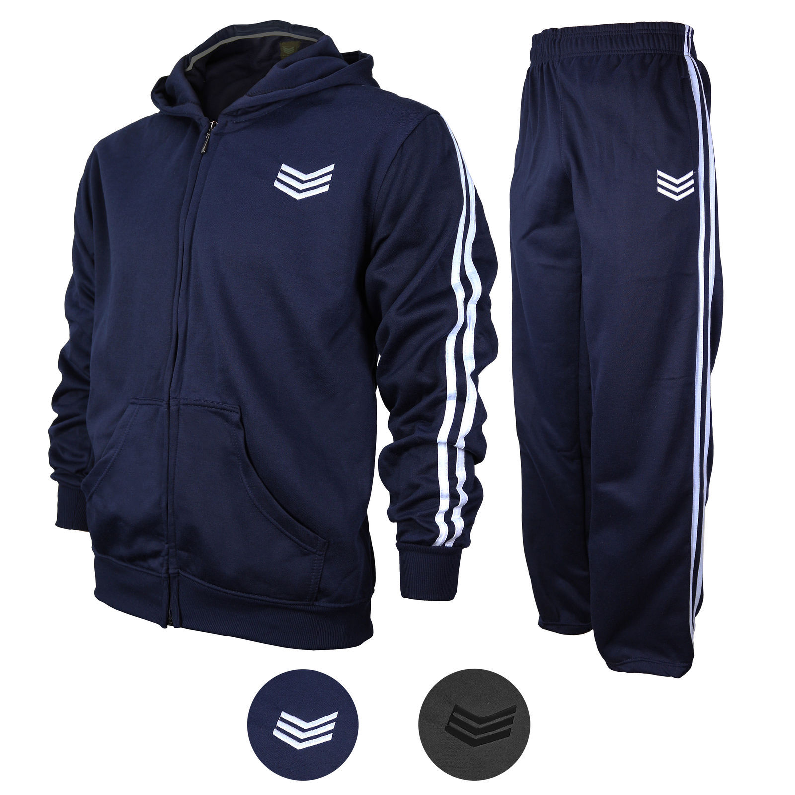 Range Men's Athletic Running Jogging Gym Zip Casual Hooded Sweat Track Suit Set