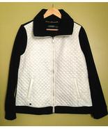 NWT LAUREN Ralph Lauren Women's White Quilted Front Fleece Black Jacket ... - $77.22