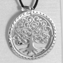 18K WHITE GOLD TREE OF LIFE PENDANT, 1.22 INCHES, ZIRCONIA, MADE IN ITALY  image 4