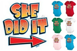 SHE DID IT baby infant bodysuit snapsuit One piece creeper Funny Humor K... - $12.99