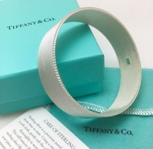 "7.5""  Tiffany & Co Silver Firm Rigid Somerset Mesh Basket Weave Bangle B... - $225.00"
