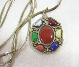 JEM 71 Celtic Multi Color Agate Cabochon Pendant Necklace Chain Vintage ... - $23.71