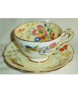 Star Paragon Cup & Saucer Summer Time White Cream Floral Butterfly Gold ... - $131.79