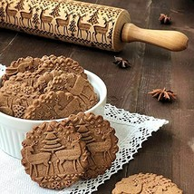 Christmas Rolling Pin Engraved Carved Wood Embossed Kitchen Tool Baking ... - $17.20+