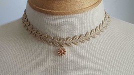 """Small 13""""ARTISAN Artsy Unique Lace Metallic Gold Choker Necklace,Pink Flower - $5.93"""