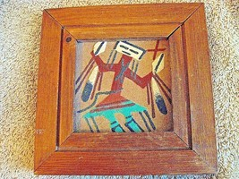 "Female Yei Southwestern Sand Painting Framed 6"" Painting 3 1/4"" x 3 1/4 ... - $14.99"