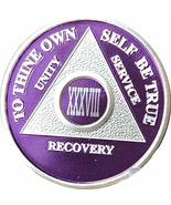 38 Year Purple Silver Plated AA Medallion XXXVIII AnniversaryChip - $17.81