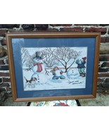 Framed Tapestry Xmas kids building Snowman Wall Hanging Snow WInter Scen... - $44.55