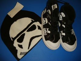 H&M Toddler Boys Hat+Trainers Shoes Sneakers Size 10.5 28 Star Wars Black White - $29.69