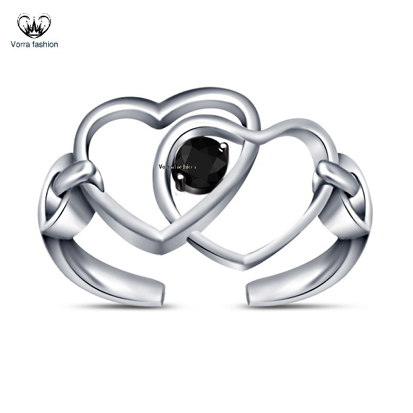 White Gold Plated 925 Silver Double Heart Adjustable Toe Ring Round Cut Black CZ