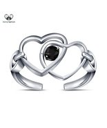 White Gold Plated 925 Silver Double Heart Adjustable Toe Ring Round Cut ... - $9.99