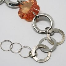 925 STERLING SILVER BRACELET BIG ORANGE FACETED FLOWER, DAISY, WORKED CIRCLES image 5