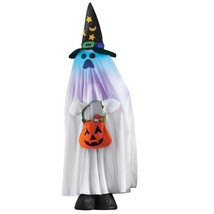 Creepy Lighted  Ghost with Hat & Pumpkin Bag, Halloween Party Character ... - $49.32