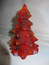 Mosser Glass Christmas Tree Hand Painted Ruby Red Satin New 212R Made USA - $34.00