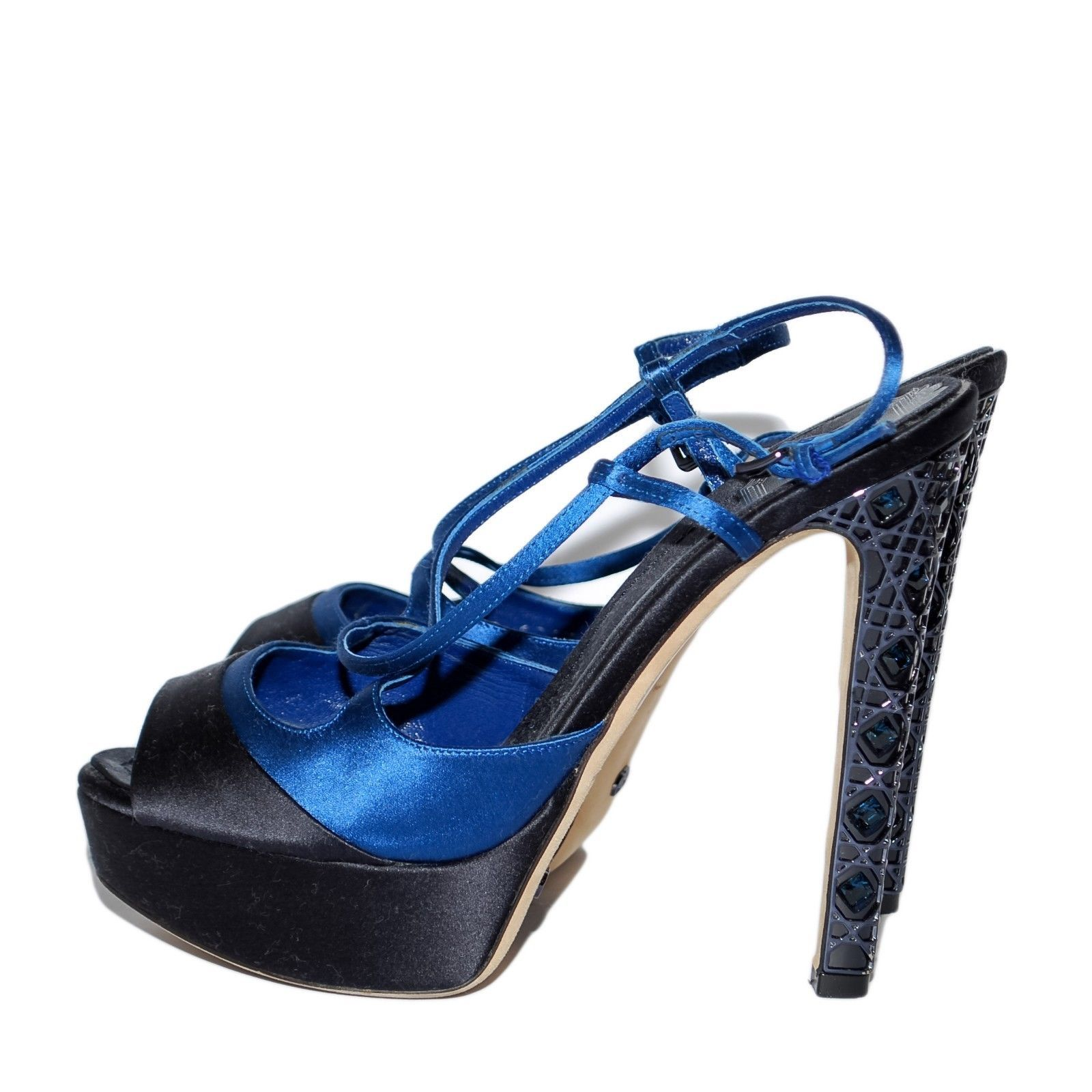 CHRISTIAN DIOR Blue Satin High Heels Sandals Buckle Stilettos Shoes Size US 6.5
