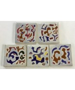 Lot of 5 Vintage Benjamin Prins Ceramic Pottery Tiles, Abstract, Signed - $56.90
