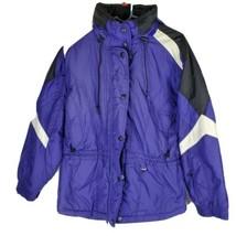 SkiGear Womens Jacket Sz L Lg Purple Hooded Drawstring Lined Coat - $28.72