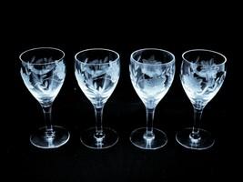 Vintage Etched Cordial glasses - set of 4 - $44.55