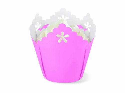 Primary image for Wilton Pink Flower Pleated Eyelet Baking Cups, 15 Count