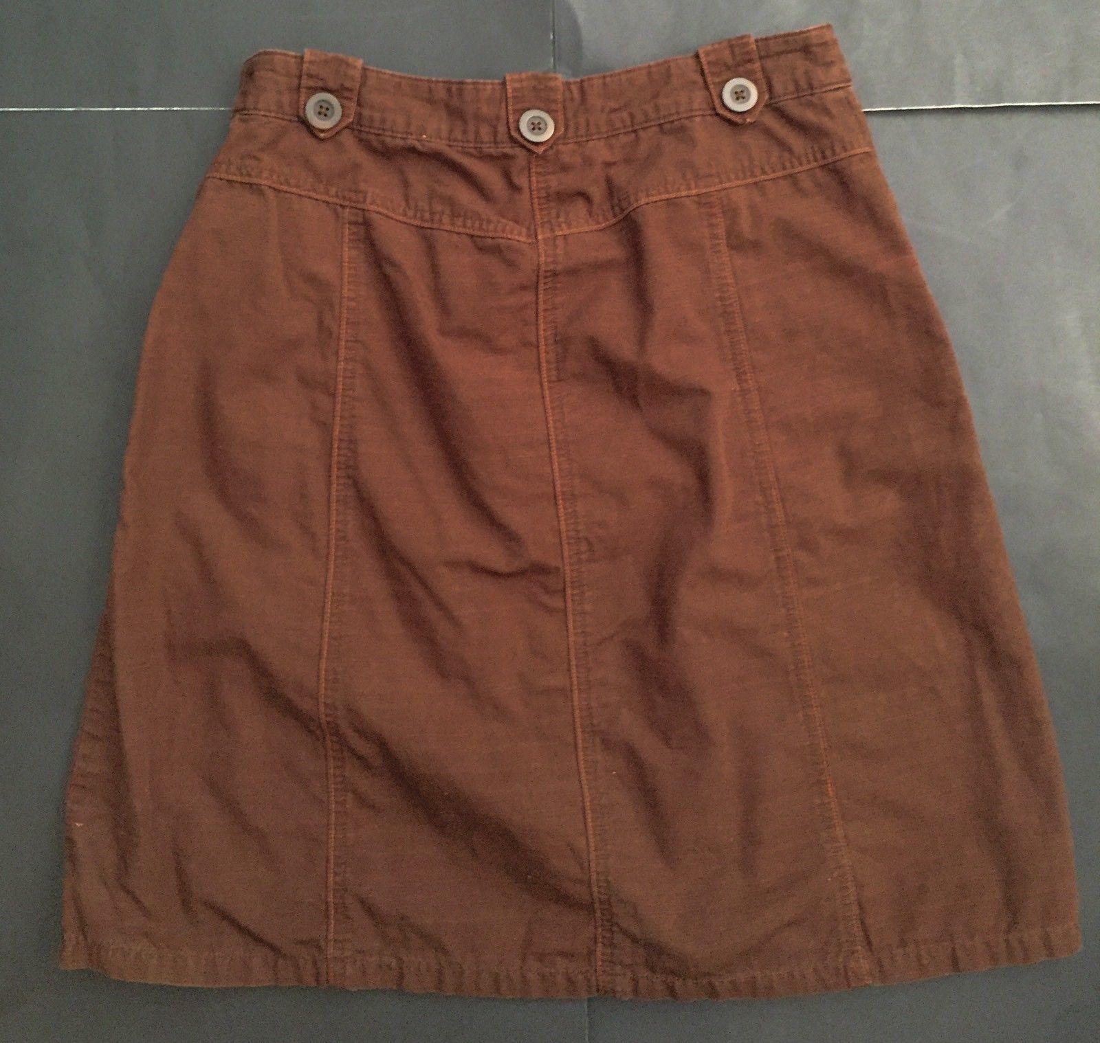 Cherokee Brown Skirt 4 Orange Threading A-Line Above Knee Casual