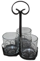 Bronze Metal Tri-Glass Scroll Candle Holder Flower Vase Candy Table Decor - $12.95