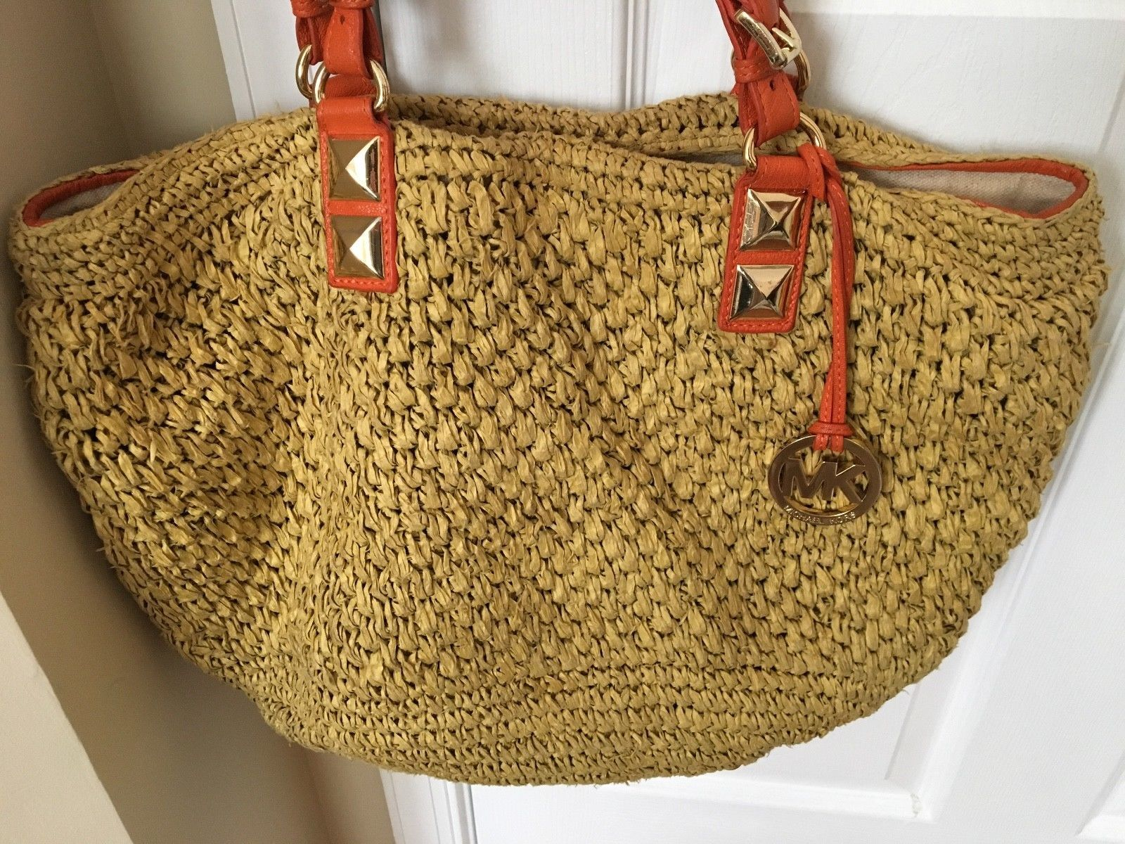 6dfd3b487637 S l1600. S l1600. Previous. Michael Kors MK Santorini Straw Husk Bag Large  Tote Leather Handbag Orange