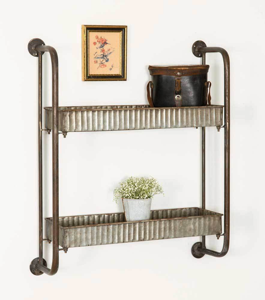 Primary image for Industrial Metal Vintage Style Retro Knick Knack Wall Shelves Shelf