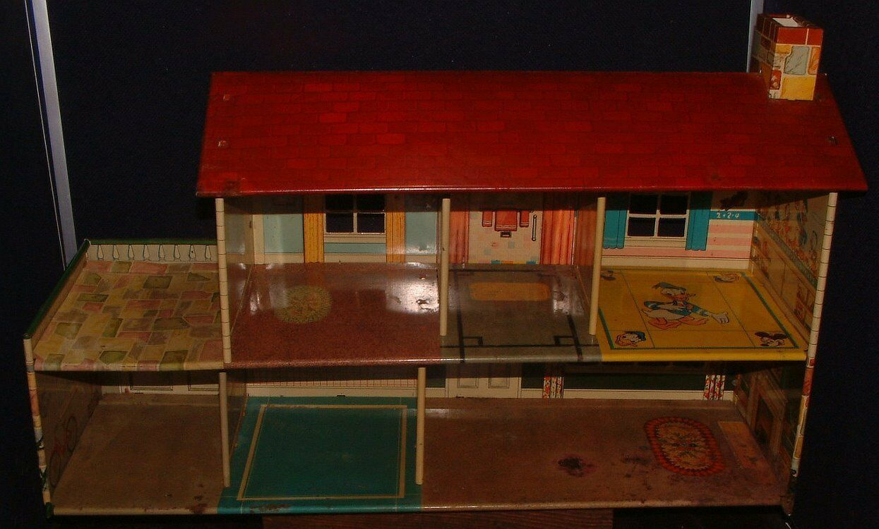 1950s Disney Marx Toy Tin Metal Doll House Donald Duck 2 Story Colonial Litho