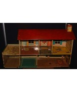 1950s Disney Marx Toy Tin Metal Doll House Donald Duck 2 Story Colonial Litho - $44.54