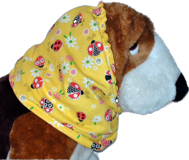 Yellow Ladybugs Sparkle Cotton Dog Snood by Howlin Hounds Size Puppy Short