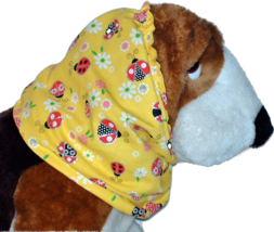 Yellow Ladybugs Sparkle Cotton Dog Snood by Howlin Hounds Size Puppy Short - $9.50