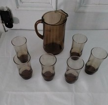 vintage Libby pitcher and 6 glasses tumblers brown  12 oz - $49.99