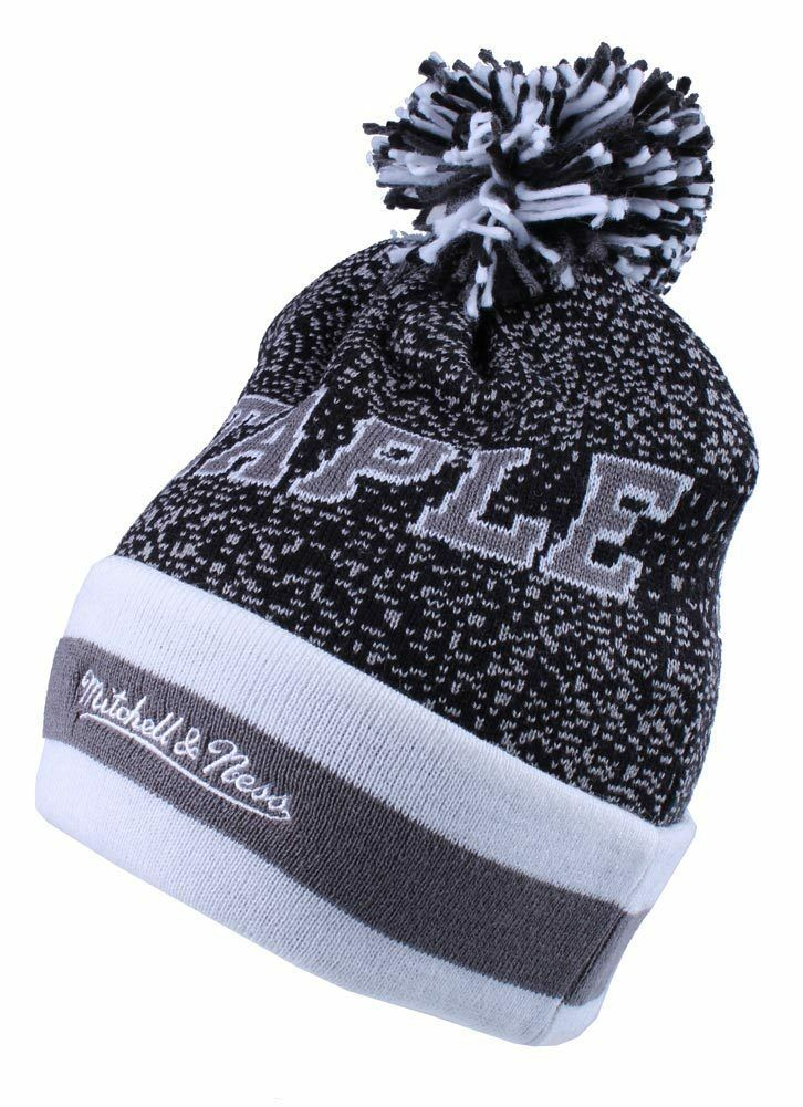 Staple Breakaway Mitchell Ness Respect All Fear None Charcoal Pom Beanie Hat NWT