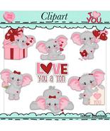 I Love You Elles the Elephants Clip Art Valentines - $1.35