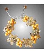Golden Freshwater Pearls Bracelet with Rutilated Quartz - $125.00