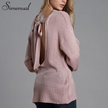 Simenual Backless bow tie women sweaters and pullovers fashion 2018 sexy... - $40.39