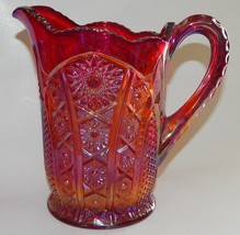 Carnival Glass Heirloom Sunset Iridescent Red Pitcher Vintage Indiana Gl... - $64.34