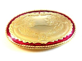 Gold Tone Red Enamel Western Cowboy Belt Buckle Made in USA - $9.89