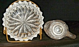 Etched glass candy dish and miniature pitcher AA19-LD11941 Vintage 2 pieces image 2