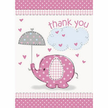 Umbrella Elephant Pink Girl Baby Shower 8 Thank You Notes with Envelopes - $2.99