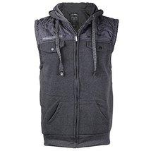 EKZ Men Casual Zip Up Hooded Sports Fashion Vest EK1645VK (Large, Iron Gray)