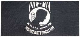 Pow Mia You Are Not Forgotten Black White 30 x 60 Beach Towel 100% Polye... - $21.88