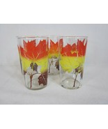 "5 Vintage MAPLE LEAF 8oz 4-3/4"" Juice Tumbler Glasses Glassware - $22.27"