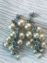 Estate Long Tapered Faux White Pearl Bead on Silvertone Chain Dangle Ear... - $12.19
