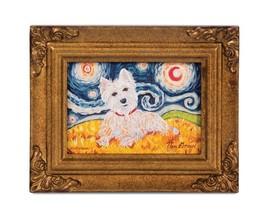 West Highland White Terrier Paw Palette Framed Canvas Art Westie Van Gro... - $28.70