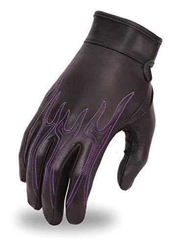 Primary image for FMC Motorcycle womens leather Purple Flame embroidery blk Gelpalm butter soft gl
