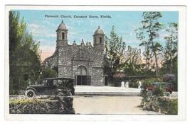 Plymouth Church Cocoanut Nut Grove Florida Car Vintage EC Kropp Postcard - $3.99